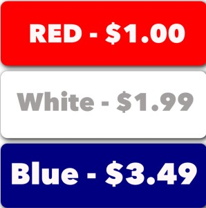 Red White Blue Price list